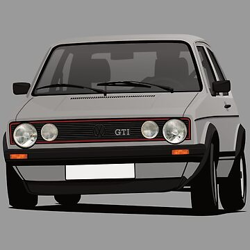 Gray cornering Golf GTI I - illustration by knappidesign