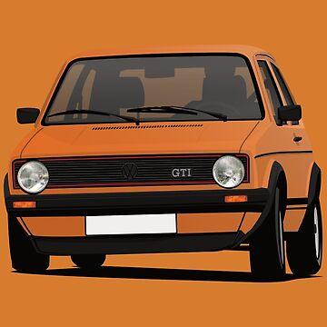 Orange Golf GTI Mk1 - cornering by knappidesign