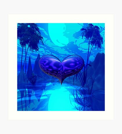 The Heart of Blue Moon River Art Print