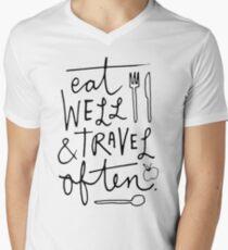 Come bien y viaja seguido Camiseta para hombre de cuello en v
