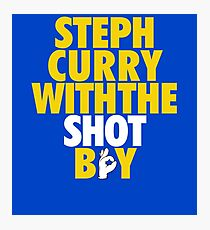 Steph Curry With The Shot Boy [With 3 Sign] Gold/White Photographic Print