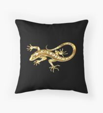 Golden Lizard Throw Pillow
