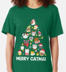 Merry Catmas Christmas Cat Tshirt for Cat Lovers Cat Owners Slim Fit T-Shirt
