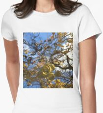 Corkscrew Tree Spiral Leaves Clouds Cara Schingeck Women's Fitted T-Shirt