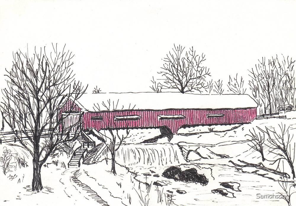 Red Covered bridge of Bridgeton by Samohsong