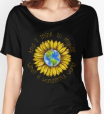 Earth Sunflower What A Wonderful World Women's Relaxed Fit T-Shirt