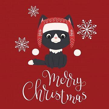 Christmas Cat - Black Cat on Red Background by pugmom4
