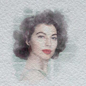 Ava Gardner Watercolour by Kelly-Ferguson
