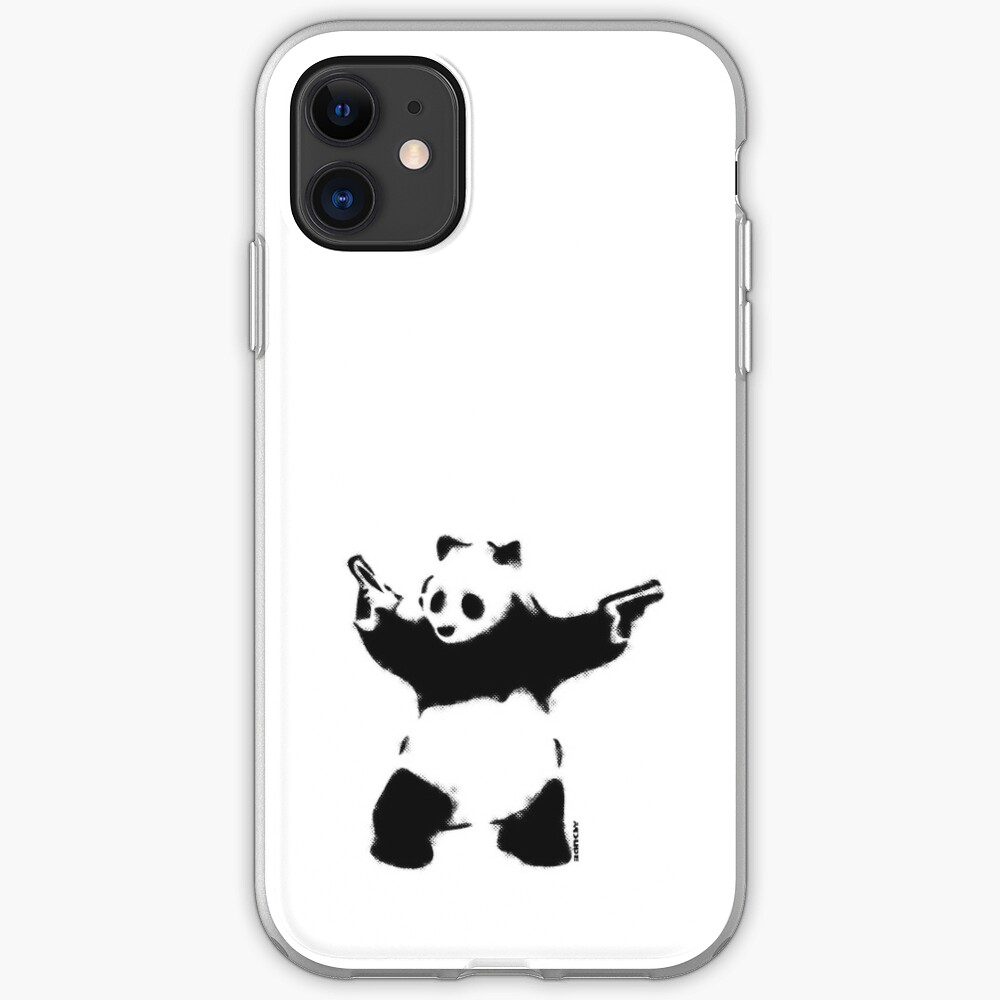 Banksy Panda with guns black and white Graffiti Street art with Banksy signature tag on white background HD HIGH QUALITY ONLINE STORE iPhone Case & Cover