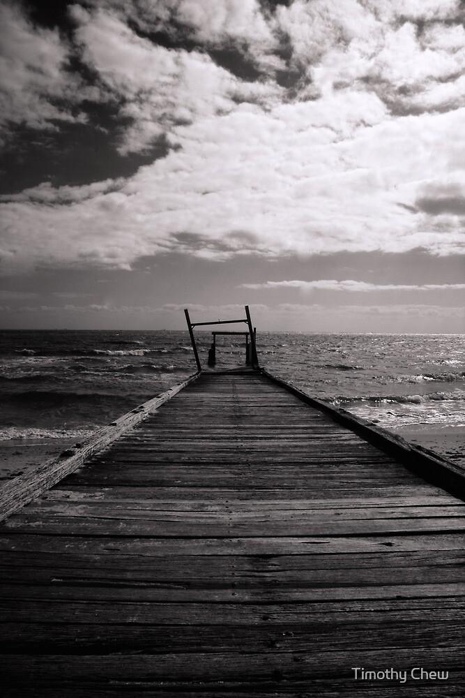 Elwood Beach Jetty Decay (Black & White) by Timothy Chew