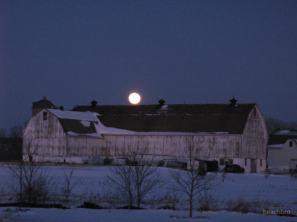 Blue Moon hanging over the barn by beachbro