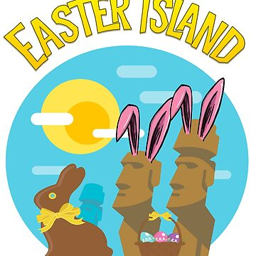 Easter Island Happy Easter Bunny Eggs Funny Moai by funnytshirtemp