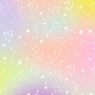 White constellation zodiac universe pattern on pastel unicorn ombre gradient by GirlyTrend