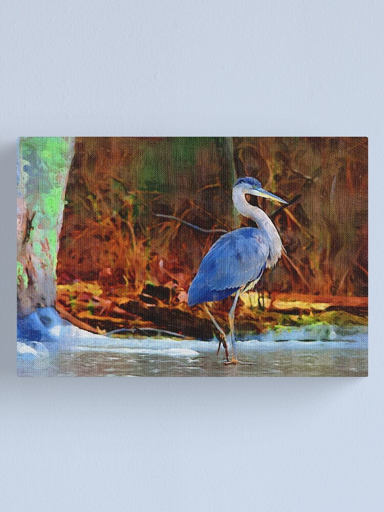 Alternate view of Heron on Ice Texture Painting Canvas Print