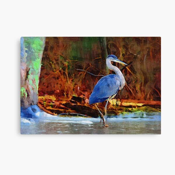 Heron on Ice Texture Painting Canvas Print