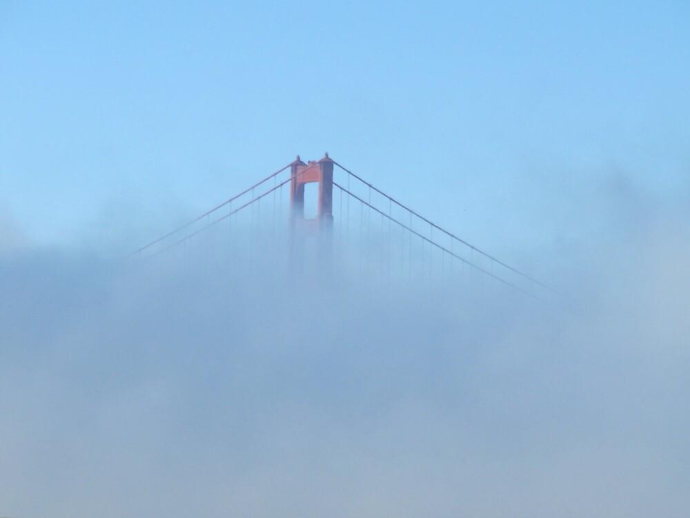 A little bit poking through the fog- Golden Gate Bridge San Francisco by meredith175