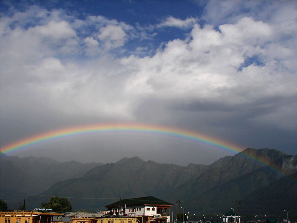rainbow over dal lake by dynamo17