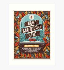 Concert Schedule Poster Dave Matthews Band 2018 Fall Tour Art Print