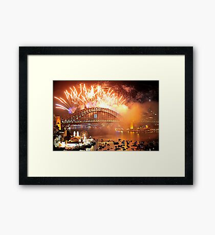 Let There Be Light #2- Sydney New Years Eve 2009 Framed Print