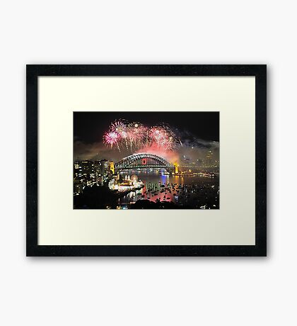 Let There Be Light #5 - Sydney New Years Eve 2009 Framed Print