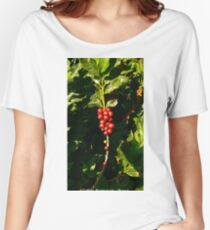 Arabica COFFEE cherry fruits on a Coffee Plantation, Brazil (Photo by ACCI) Women's Relaxed Fit T-Shirt