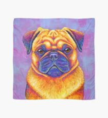 Colorful Rainbow Pug Dog Portrait Scarf