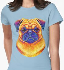 Colorful Rainbow Pug Dog Portrait Women's Fitted T-Shirt