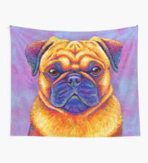 Colorful Rainbow Pug Dog Portrait Wall Tapestry