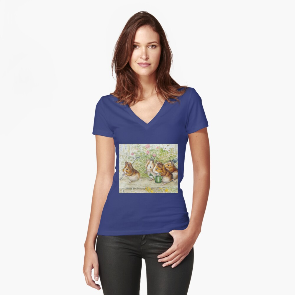 Guinea Pig Gardeners - Beatrix Potter Fitted V-Neck T-Shirt