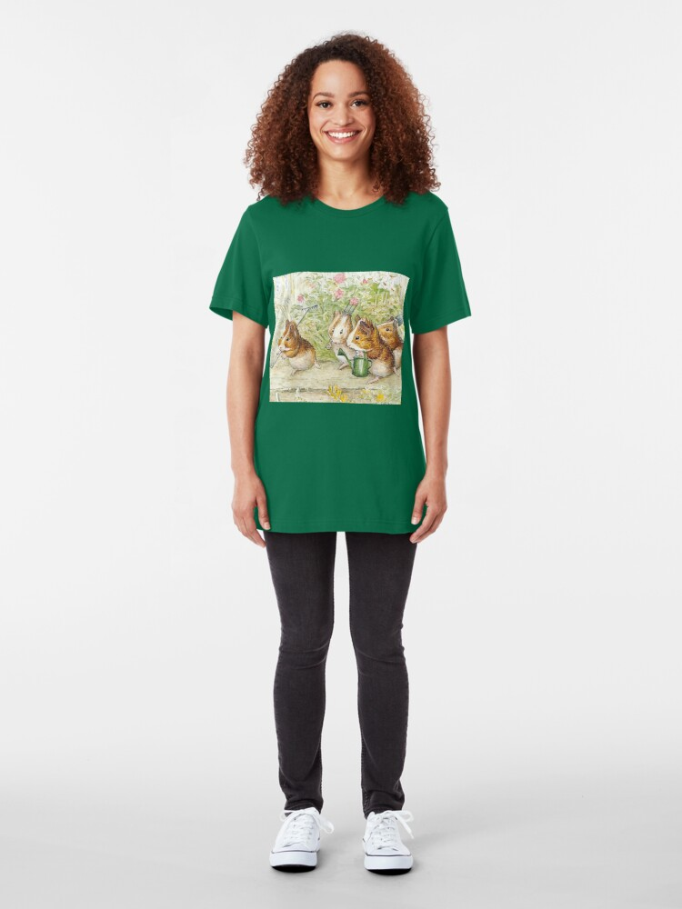 Alternate view of Guinea Pig Gardeners - Beatrix Potter Slim Fit T-Shirt