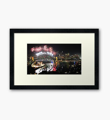 Let There Be Light #4- Sydney New Years Eve 2009 Framed Print