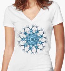 Snowflake Mandala In Blue Women's Fitted V-Neck T-Shirt