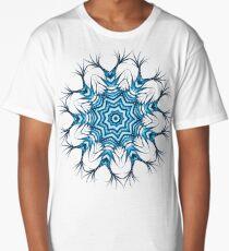 Snowflake Mandala In Blue Long T-Shirt