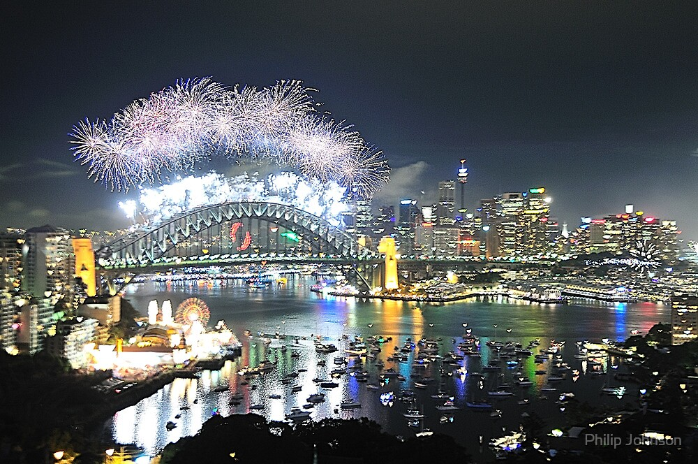 Let There Be Light #6 - Sydney New Years Eve 2009 by Philip Johnson