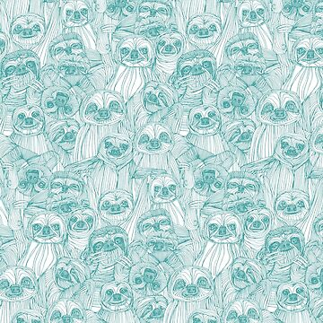 just sloths teal white by scrummy