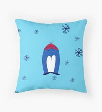 Blue Penguin in the Snow Throw Pillow