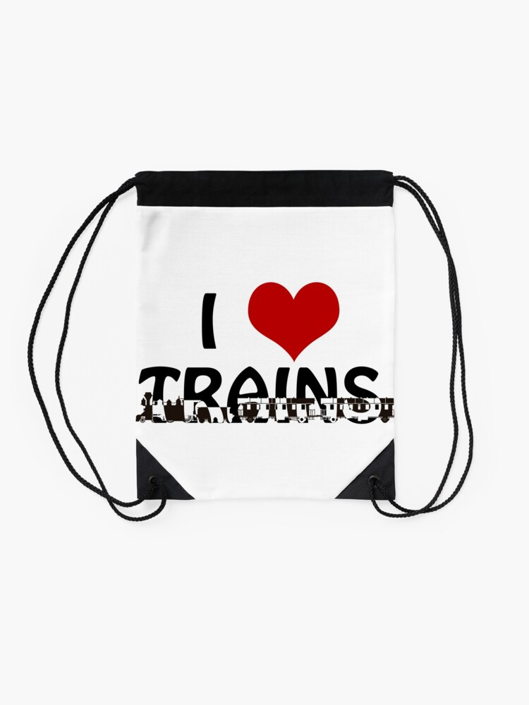 Alternate view of I love Trains Drawstring Bag