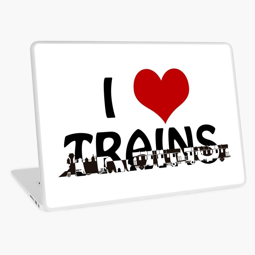 I love Trains Laptop Skin