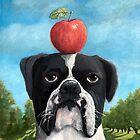 June - Boxer dog portrait oil painting by LindaAppleArt