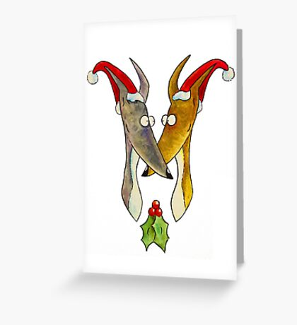 Christmas Love Hounds Greeting Card