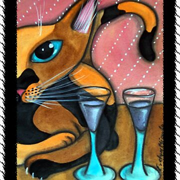 Romancing Cat and Wine Glasses by dreamlyn