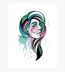 Pretty Watercolor Lady Photographic Print