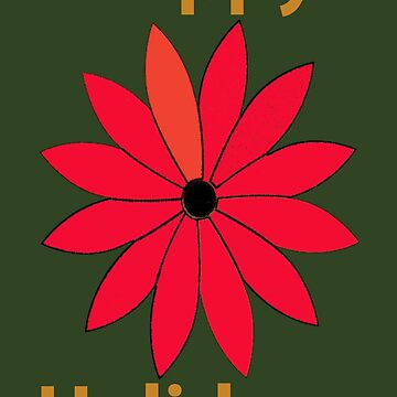 Abstract Red Flower Poinsettia Happy Holidays by JoannieKayaks