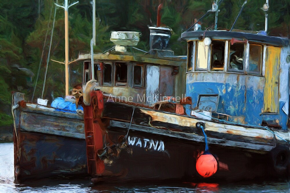Painted Tugs by Anne McKinnell