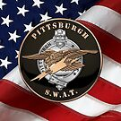 Pittsburgh Police S.W.A.T. Team Emblem over American Flag by Serge Averbukh