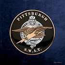 Pittsburgh Police S.W.A.T. Team Emblem over Blue Velvet by Serge Averbukh