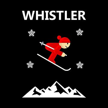Whistler Canada Flying Downhill Skier Color by TinyStarCanada