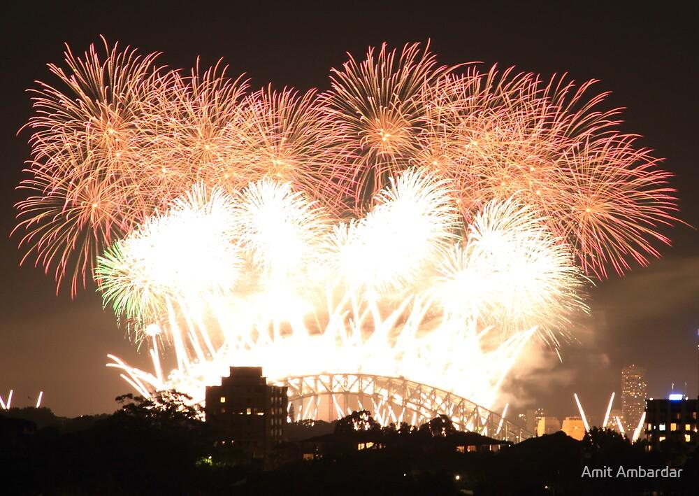 New year fireworks at Sydney harbour bridge by Amit Ambardar