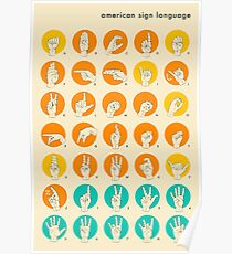 AMERICAN SIGN LANGUAGE HAND ALPHABET Poster