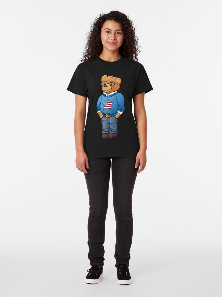 Alternate view of Preppy polo bear hand drawn illustration by Natasha Pankina Classic T-Shirt